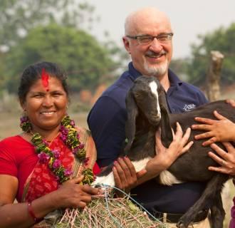 Image: Pierre Ferrari, CEO of Heifer International in Bharatpur.