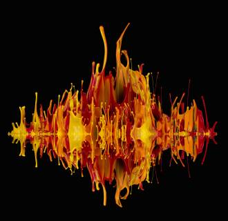Image: Paint leaps into the air propelled by sound waves.