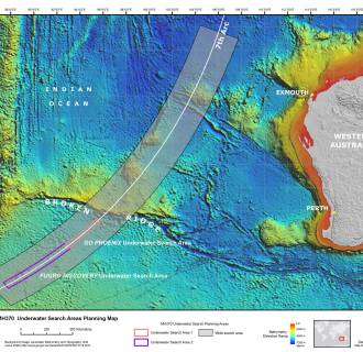 A map showing the planned search areas in the hunt for missing Malaysia Airlines flight MH370.