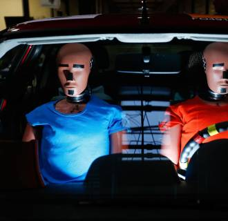 Image: Dummies are prepared for a car crash-test