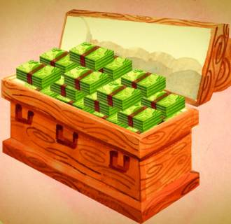 Image: An illustration of money stacked inside a coffin