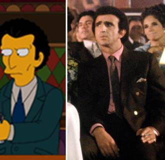 Left: Louie from the Simpsons; Right: Frank Sivero as Frankie Carbone in Goodfellas.