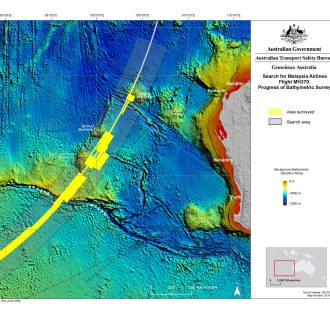 A map showing progress made in the bathymetric survey being conducted as part of the search for missing Malaysia Airlines jet MH370.
