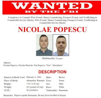 IMAGE: FBI wanted poster for Nicolae Popescu