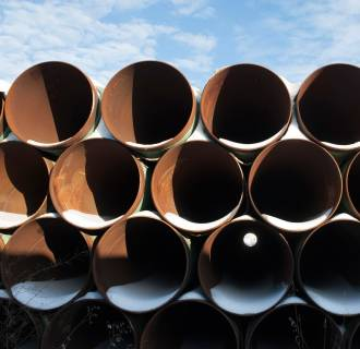 Image: A depot used to store pipes for Transcanada Corp's planned Keystone XL oil pipeline is seen in Gascoyne, North Dakota