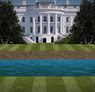 Image: An illustration imagines a moat surrounding the White House