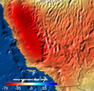Image: NASA satellite data shows the trend in California water storage