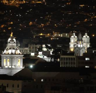 Image: A view shows the historic center at downtown Quito