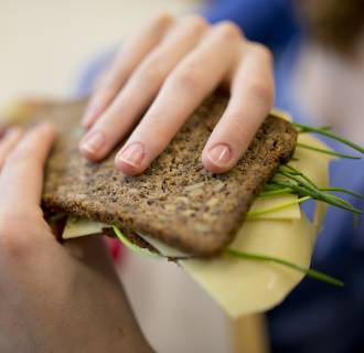 Image:  Student with a healthy breakfast, lunchbox filled with wholewheat bread, fruit and vegetables.