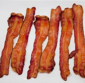 Image: Strips of cooked bacon