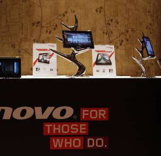 Image: File photo of Lenovo tablets and mobile phones displayed during a news conference on the company's annual results in Hong Kong