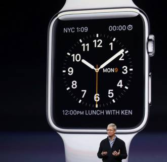 Image: Apple CEO Tim Cook introduces the Apple Watch during an Apple event in San Francisco