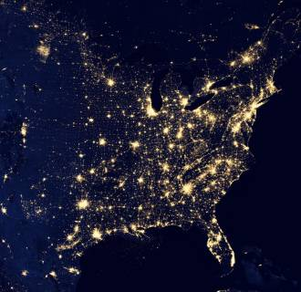 Image: This composite image made available by NASA and assembled by data acquired from the Suomi NPP satellite in April and October 2012 uses the satellite's Visible Infrared Imaging Radiometer Suite (VIIRS), to show the U.S's lights at night