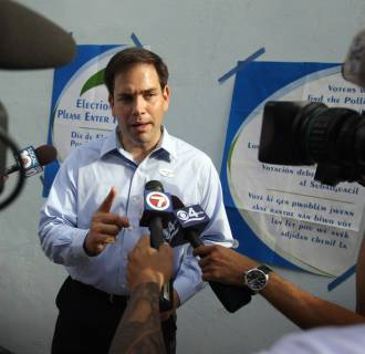 Image: Marco Rubio votes in Florida primary election