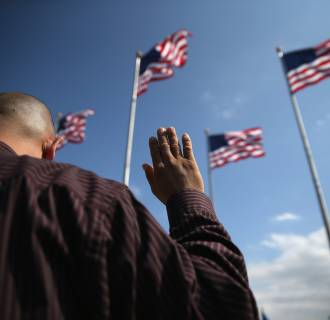 Image: Immigrants Become US Citizens During Naturalization Ceremony At Liberty State Park