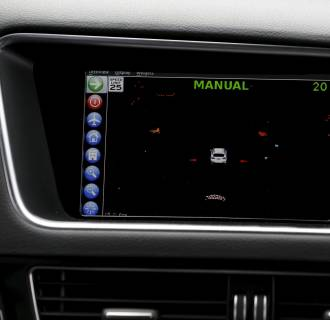 Image: Monitor aboard a Delphi autonomous car displays real-time data collected from the car's sensors before the self-driving car departs Treasure Island for a cross-country trip from San Francisco to New York City, in San Francisco