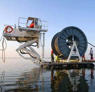 Germany Mecklenburg-Western Pomerania Baltic Sea - undersea cable to Hiddensee island