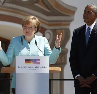 Image:  U.S. President Barack Obama and German Chancellor Angela Merkel