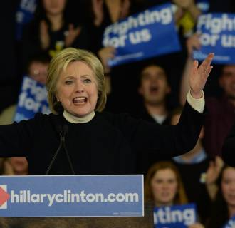 Image: Democratic Presidential Candidate Hillary Clinton Holds New Hampshire Primary Night Gathering