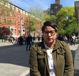 Poet Sonia Guinansaca in Washington Square Park in New York City, New York.