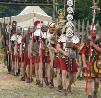 IMAGE: Re-enactors portraying Roman soldiers of the first century A.D.