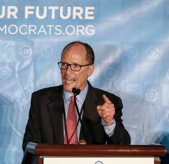 Image: Newly elected DNC Chair and former U.S. Labor Secretary Tom Perez speaks during the Democratic National Committee (DNC) Winter Meeting in Atlanta, Georgia, Feb. 25, 2017.