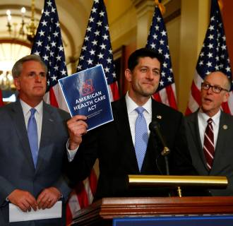 Image: U.S. House Majority Leader Kevin McCarthy, U.S. House Speaker Paul Ryan, and  U.S. Representative Greg Walden hold a news conference on Capitol Hill in Washington