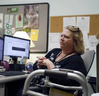 Image: Mary Lytle-Gaines works in her office in St. Louis