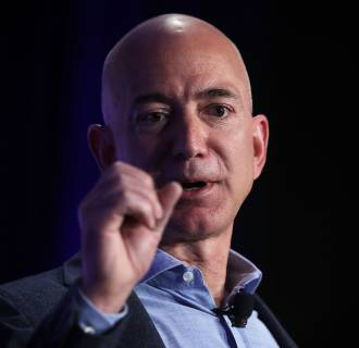 Image: Jeff Bezos speaks during an event called