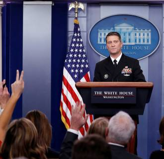 Image: White House, Presidential physician Ronny Jackson answers question about U.S. President Donald Trump's health after the president's annual physical at the White House in Washington, DC, U.S.