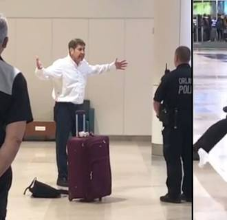 Video captured at the scene when Jeffrey Epstein started causing at stir at the American Airlines ticket counter just before 6 a.m. at Orlando International Airport on Aug. 16, 2018.