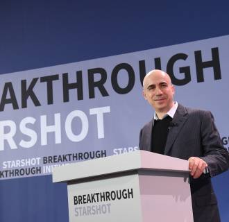 Image: Yuri Milner, Breakthrough Prize and DST Global Founder, speaks at a press conference in New York on April 12, 2016.