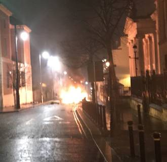 A suspected car bomb in front of a courthouse in Derry, Northern Ireland on Jan. 19, 2019.