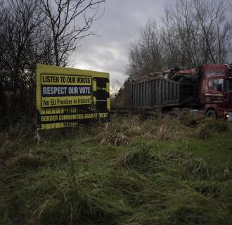 Image:  An anti-Brexit sign close to the border near Teemore, Northern Ireland.