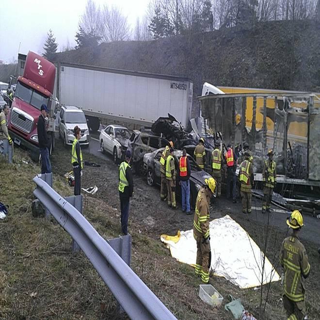 Three dead in 95-car pileup near Virginia, North Carolina state line
