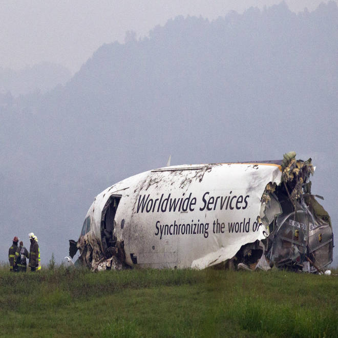 Pilot, co-pilot killed in fiery UPS cargo plane crash at Alabama airport
