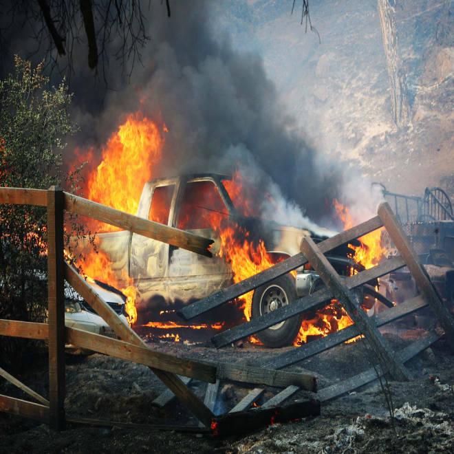 'Head to toe' burn victim among five hurt as California wildfire spreads