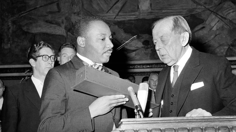 Image result for dr. martin luther king jr accepts the nobel peace prize in 1964