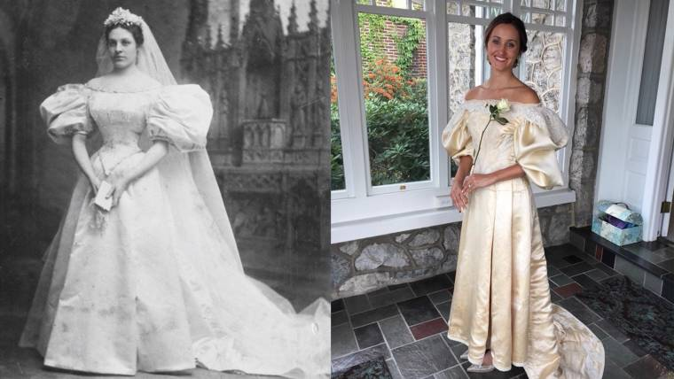 Bride will be 11th in family to wear 120-year-old wedding dress