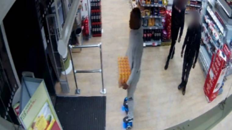 Video Shows Man on Hoverboard Steal Case of Sports Drinks