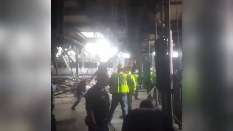 Commuter Train Crashes Into Hoboken New Jersey Station