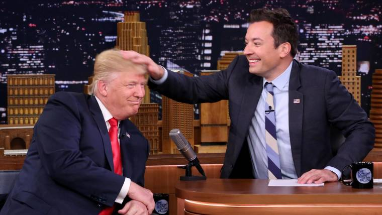 Image result for jimmy fallon messes up donald trumps hair