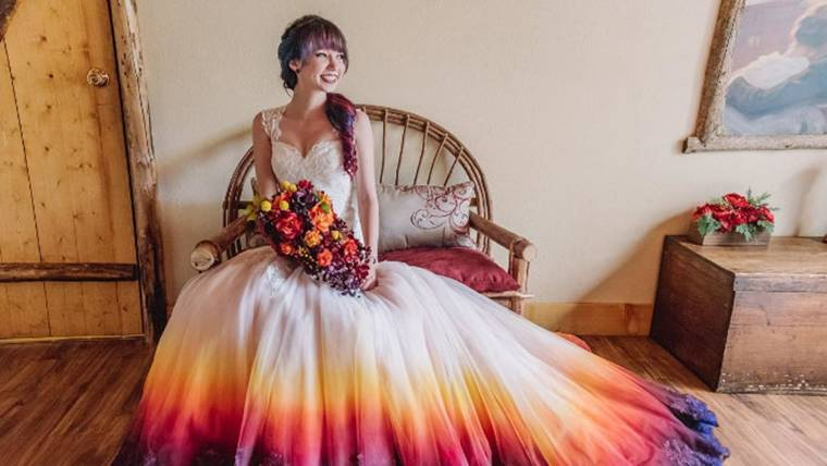 Dip-dyed, colorful wedding dresses are the new bridal trend
