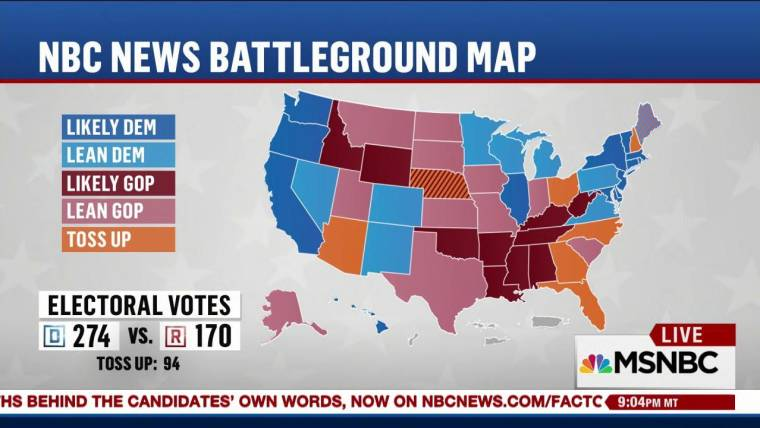 Clinton leads NBC Battleground Map on Election Eve