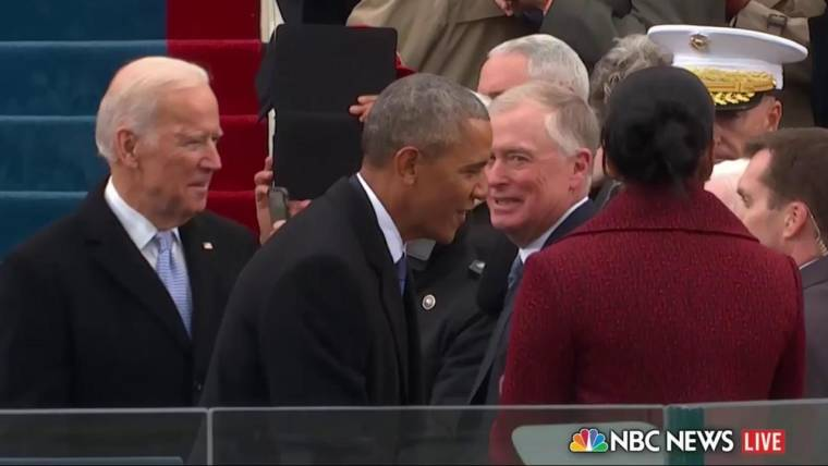 Inauguration day why were there 2 bibles what was in that blue box obama greets former presidents on inauguration stage m4hsunfo
