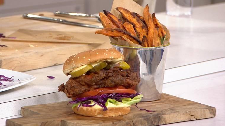 Dinner down South: Fried chicken sandwiches, sweet potato fries & peach cobbler