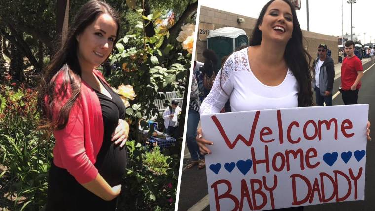 military wife s pregnancy surprises husband at navy homecoming