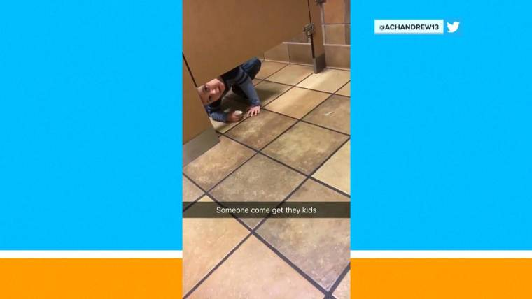 Boy Walks Into Strangers Bathroom Stall To Ask For Help Washing His - Boy crawls under bathroom stall