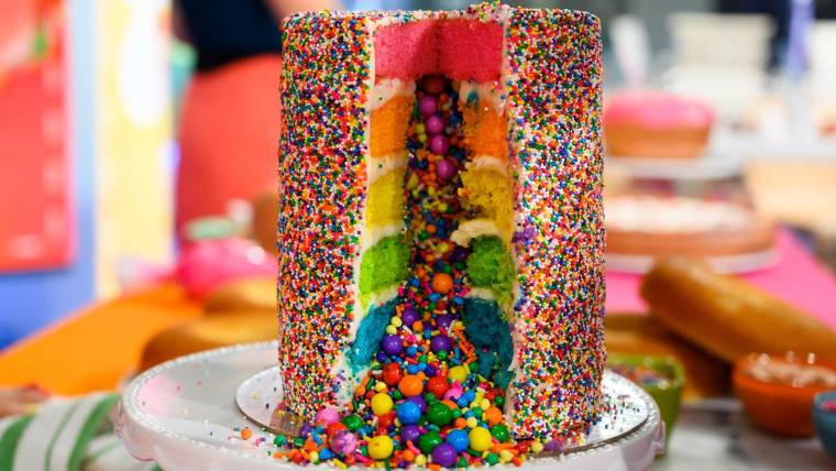 How To Make The Ultimate Rainbow Explosion Cake