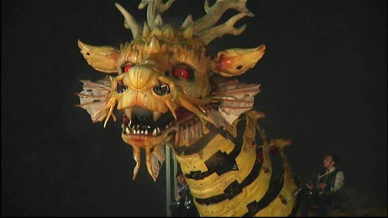 giant robotic dragon breathes fire beijing